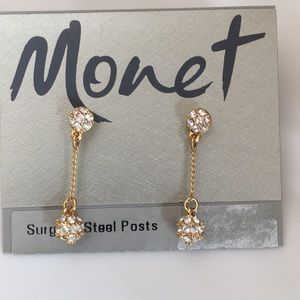NWT Monet drop earrings in gold and crystal